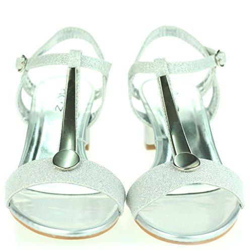 Mujer Señoras Detalle Punta Abierta Correa de Tobillo Cierre de Hebilla Tacón de Bloque Medio Noche Casual Fiesta Sandalias Zapatos Talla Plata
