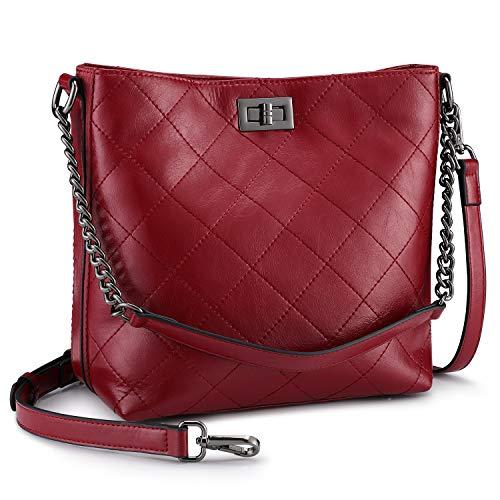 - S-ZONE Women Crossbody Shoulder Bag Leather Bucket Bag Hobo Handbag Tote Bag Purse(Wine Red)