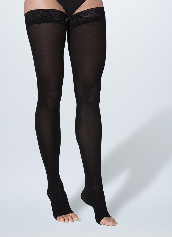 SIGVARIS Women's SOFT OPAQUE 840 Open Toe Thigh High w/ Grip-Top 20-30mmHg