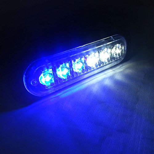 VSLED Universal 6-LED Blue-White Light 16-Flashing Mode Car Truck Warning Caution Emergency Construction Strobe LED LightBar