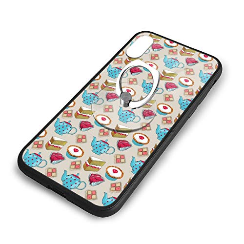 iPhone X Plus Cover Cup Cake Case with Finger Ring Stand XS Phone Kickstand Holder Shock Protective Basic Protector]()