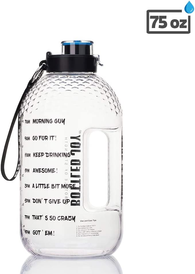 BOTTLED JOY 1 Gallon Water Bottle/Half Gallon Water Bottle, BPA Free 128oz/75oz Large Water Bottle with Motivational Time Marker Reminder Leak-Proof Drinking Water Jug for Sports and Outdoor Activity