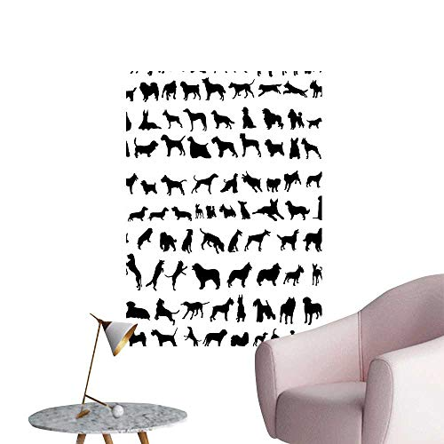 (Vinyl Wall Stickers Silhouett Different Breeds Dogs Bulldog P scher Spaniel St Bernard Perfectly Decorated,16