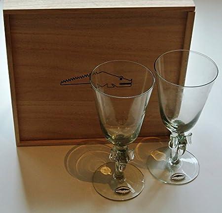 Comercio justo, elefante de cristal Ngwenya vástago - copas para vino caja de madera conjunto de dos: Amazon.es: Hogar