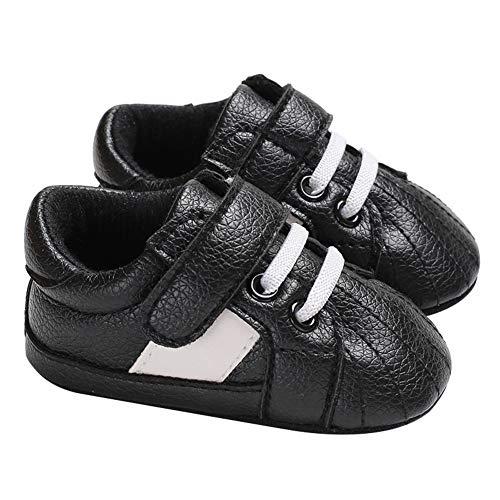 (yuye-xthriv Fashion Faux Leather Newborn Baby Infant Soft Anti-Slip Prewalker Toddler Shoes Black 12(6-8M) )