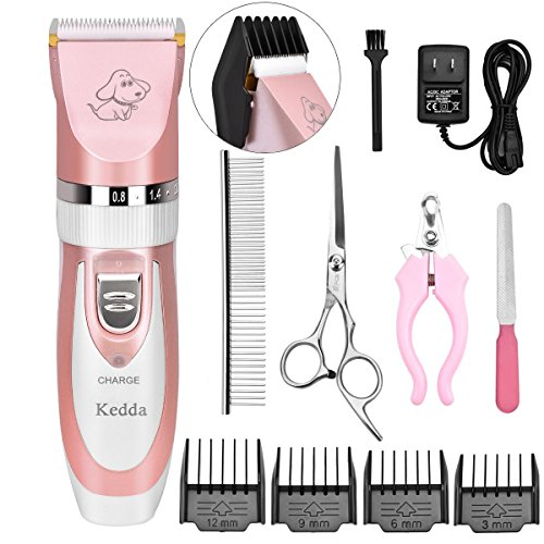 511M%2B3AJCyL - Pet Grooming Clippers, Kedda Rechargeable Cordless Dog Grooming Clippers Kit Low Noise Electric Hair Trimming Clippers Set For Small Medium Large Dogs Cats Other Animals (pink)