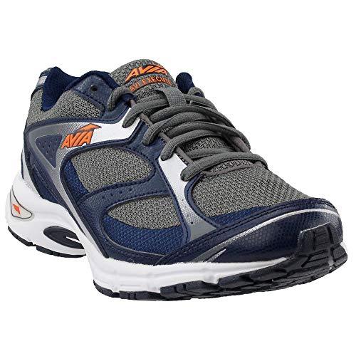 AVIA Men's Execute Running Shoe, Steel Grey/True Navy/Chrome Silver/Rhythm Orange, 7.5 M US