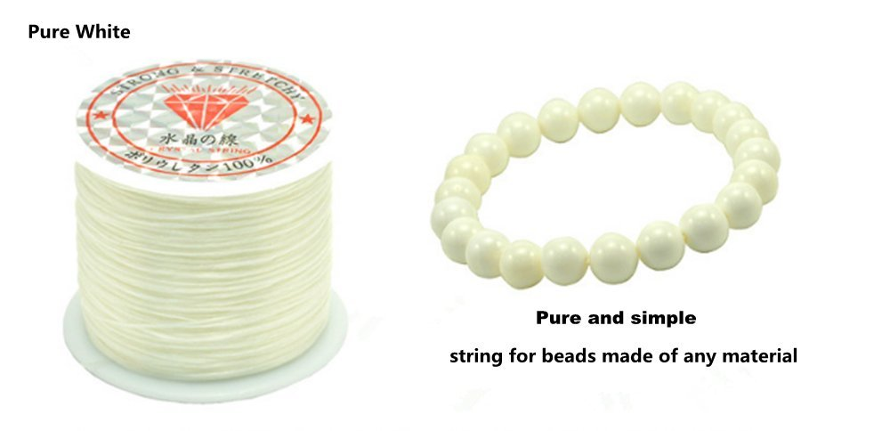0.5mm Crystal Elastic String Angela_max Rubber Band DIY Jewelry Making Cord Bracelet Beading Stretchy Thread 50m/Roll for Children Adult Craftman Gift - White
