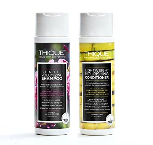 THIQUE Hair Loss Shampoo Volumizing Anti-Thinning Nourishing Conditioner Duo - Stimulates Hair Growth Vegan Plant Based (Shampoo and Conditioner Kit)