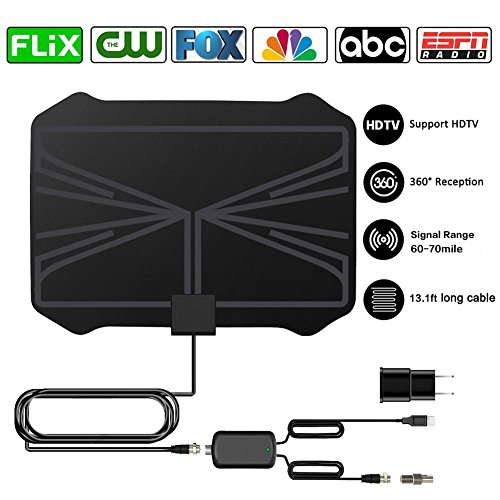 2018 Newest Amplified HD Digital TV Antenna, 60-70 Mile Range High Defination Ultra-Thin Digital Indoor TV Antenna Signal Receiver DTMB TV Antenna(AC Adapter Included)