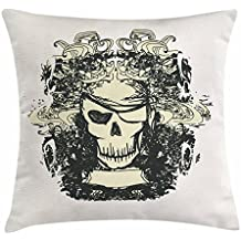 Lunarable Pirate Throw Pillow Cushion Cover, Skull of Pirate Retro Grunge Style Skeleton Doodle Deadly Scary Character, Decorative Square Accent Pillow Case, 36 X 36 Inches, Cream Black Beige