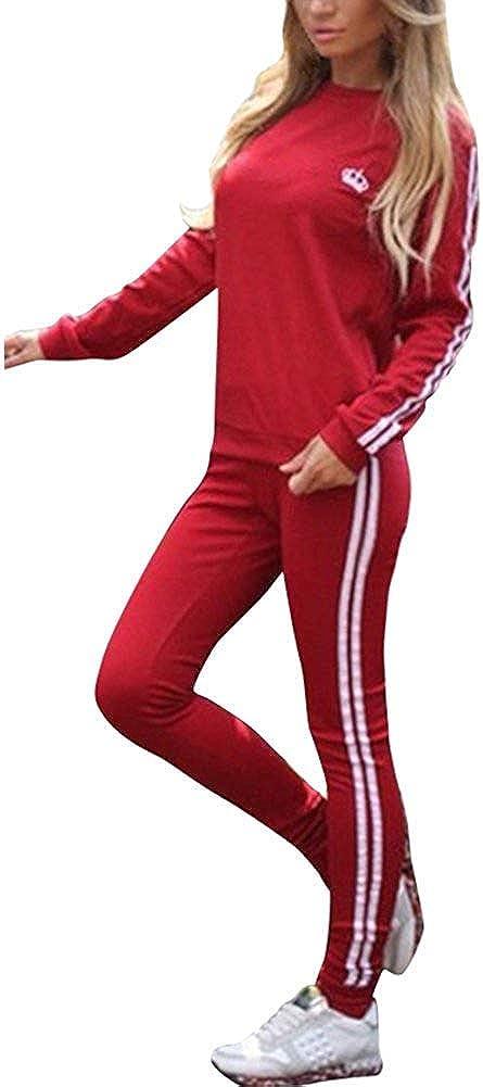 JIAJIA YL Damen Mode Streifen Trainingsanzug Frauen Lange /Ärmel Sweatshirt Lange Hose Sportswear 2 St/ück Set Sport Yoga Outfit