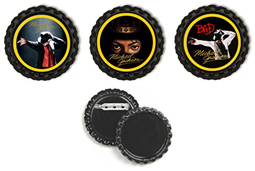 Crafting Mania LLC. 3 Michael Jackson Anniversary Black Bottle Caps With Button ()