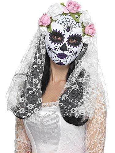 Ladies Day of The Dead Bride Sugar Skull Full Face Mask Floral Rose White Veil Halloween Carnival Mexican Festival Fancy Dress Costume Accessory