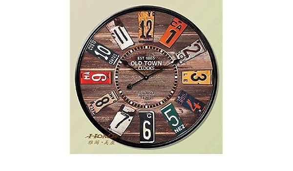 Amazon.com: 60CM Wall Clock Saat Clock Reloj Duvar Saati Horloge Murale Digital Wall Clocks Relogio De Parede Vintage Watch Home Decor Klok: Home & Kitchen