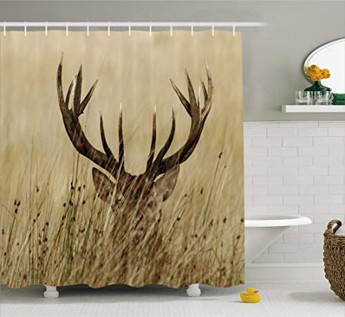 Antler Decor Shower Curtain by Ambesonne, Whitetail Deer Fawn in Wilderness Stag Countryside Rural Hunting Theme, Fabric Bathroom Decor Set with Hooks, 70 Inches, Brown Sand Brown