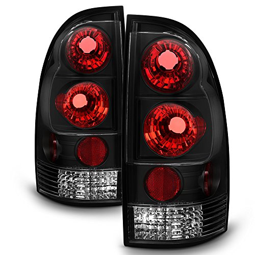 (For Toyota Tacoma Pickup Truck Black Bezel Rear Tail Lights Brake Driver/Passenger Lamps)