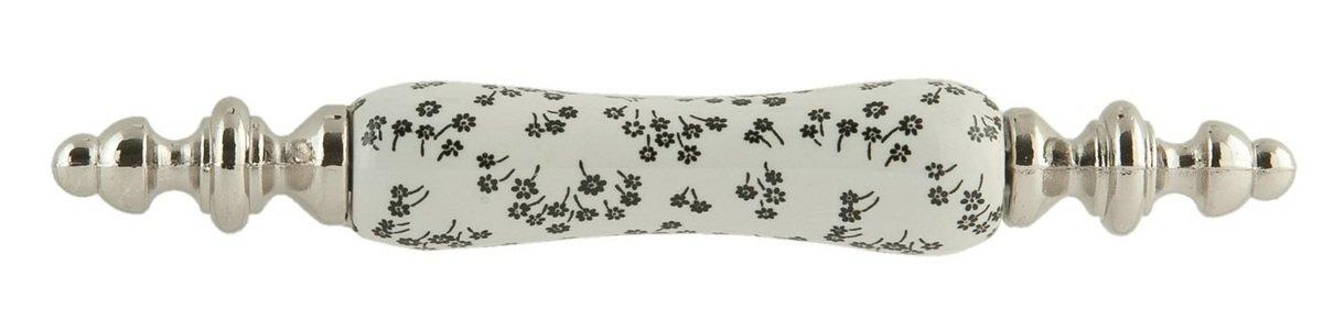 Clayre /& Eef 62985 T/ürknopf 12x2cm silber Keramik-s//w Blumen