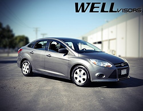 Replacement for 2012-up Ford Focus Clip-ON Chrome Trim Smoke Tinted Side Rain Guard Window Visors Deflectors 3-847FD001