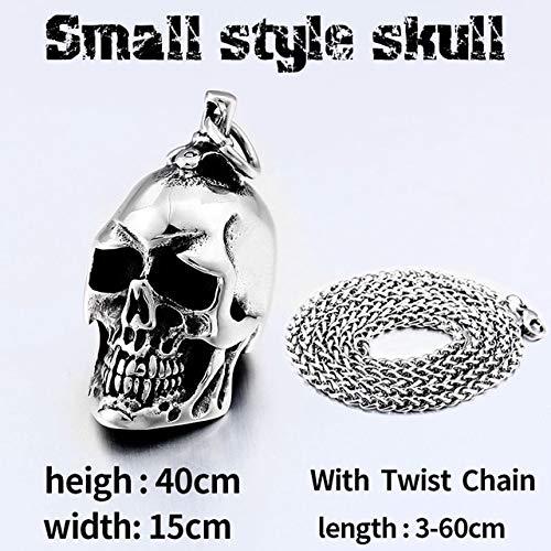 Davitu Steel Soldier Stainless Steel Men Punk Skull Pendant Davitu Personality Accessories Jewelry Metal Color: Small with Twist