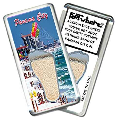 "Panama City, FL ""FootWhere"" Souvenir Fridge Magnet. Made in USA (PC203 - @DaBeach)"