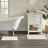 JLA Home INC Pebble Embossed Washable Memory Foam Bath Mat, Mildew Resistant Bathroom Rugs, 20X30, Ivory