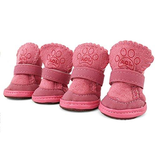 URBEST 4Pcs Nonslip Sole Booties Puppy Dog Winter Shoes Pink XXXS Dog Puppy Booties