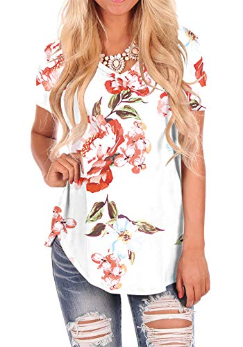 - Women's T Shirts Loose Short Sleeve Curved Hem T Shirts Floral White 2XL