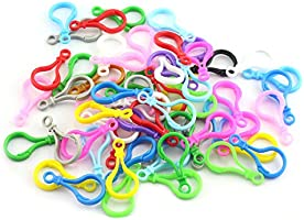 100-Pack Plastic Lobster Clasps Hooks for DIY Toys Key Rings Chains Assorted