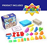 Kinetic Play Sand, Magic Space Sand Castle Building Kit, Squeezable Beach Sand 2 LB + Castle Molds and Sand Tray, Best Sand Toys for Kids by AnanBros