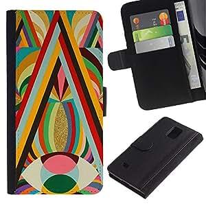 Billetera de Cuero Caso Titular de la tarjeta Carcasa Funda para Samsung Galaxy Note 4 SM-N910 / Vibrant Gold Colors Red Eye Lines Pattern / STRONG