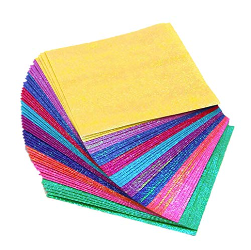 50 PCS 4x4 Inch Handmade Color Glitter Origami Folding Flash Square Paper Cutting Children DIY Flash Rose Flowers Paper Cranes Decoration Handcrafts Material for Office School Children