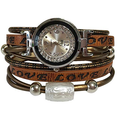 Around Leather Watch Bangle Wrap - MINILUJIA Double Wrap Around Engraved Leather Women Watch Vintage Casual Bohemian Style Adjustable Beads Watch 25mm Silver Artificial Crystal Dial (Brown)