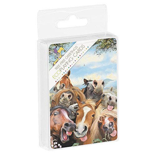 Tree-Free Greetings Deck of Playing Cards, 2.5 x 0.8 x 3.5 Inches, Horses Selfie  (CD15896)