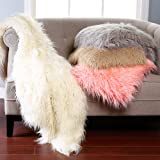 Best Home Fashion Faux Fur Throw - Full Blanket - Ivory Mongolian Lamb - 58'W x 84'L - (1 Throw)