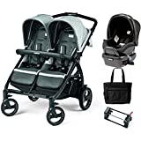 Peg Perego - Book for Two Atmosphere Light Grey Dark Grey Double Stroller Travel System with Diaper Bag
