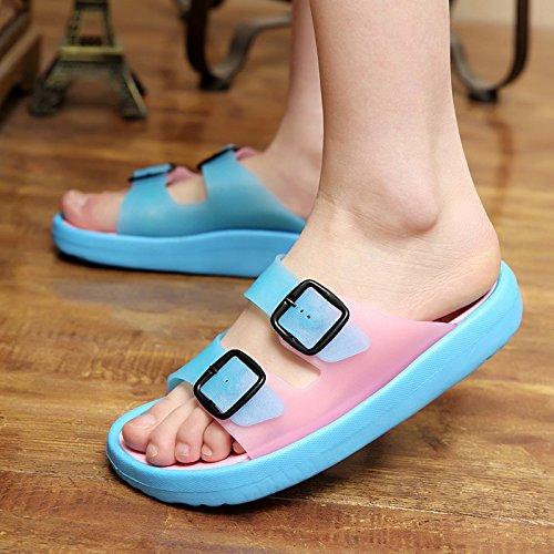 Xing Lin Sandalias De Hombre Sandalias De Tamaño Grande A Estudiantes Varones Tendencia Juvenil De Verano Sandalias De Verano Sandalias Zapato Abierto Marea Pink Blue