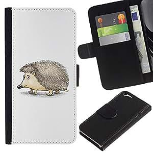 Planetar® Modelo colorido cuero carpeta tirón caso cubierta piel Holster Funda protección Para Apple (4.7 inches!!!) iPhone 6 ( Erizo espinas animal lindo del dibujo del arte )