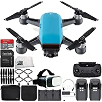 DJI Spark Portable Mini Drone Quadcopter Fly More Combo Virtual Reality Experience VR Bundle (Sky Blue)