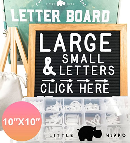 Letter Board - 10x10 w/690+ Letters +Stand +Sorting Tray +Canvas Bag +More | Changeable Felt Message Board, Letterboard, Felt Board, Marquee Sign, Word Board, Sign Board by Little Hippo (Black) by Little Hippo