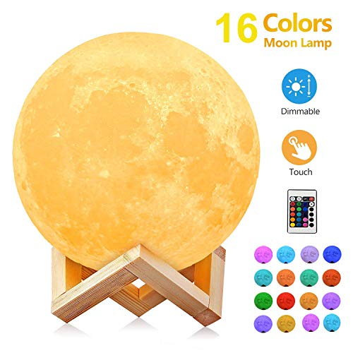 Moon Light, 5.9 inch 3D Moon Lamp 16 Color Switchable by Remote & Touch Control, Dimmable Large Moon Light with Stand, USB Rechargeable Night Lights for Kids Bedroom Decoration Birthday Christmas Gift