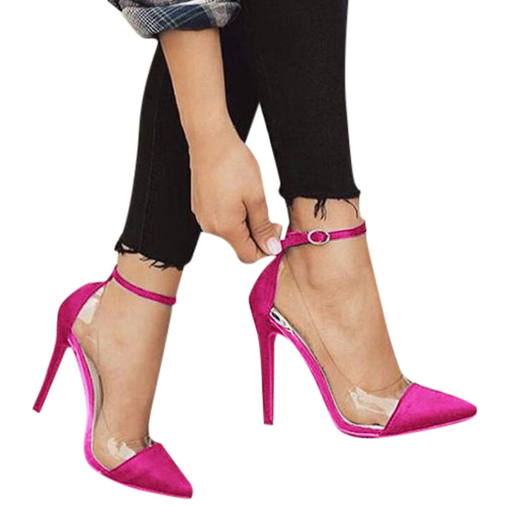 Cenglings Womens Pointed Toe Transparent Sandals Ankle Strap High Stiletto Heel Pumps Shallow Sandals Party Shoes Hot Pink by Cenglings