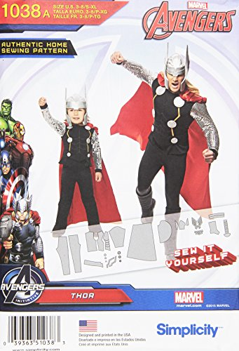 Simplicity Sewing Pattern 1038 - THOR Costume for Men and Boys - Men's Size XS - XL - Boy's Size 3-8 ()