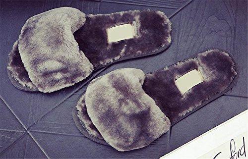 Lysbilder Tøffel Kvinner Faux Pels, Pluss Størrelsen Innendørs Hjem Skoene Lette Flat Vinter Sko 8 Farger Størrelse 5 Til 8,5 Grå