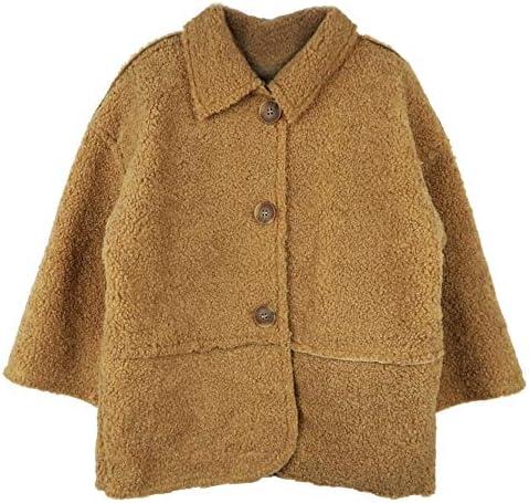 Faux Fur Fleece Hooded Jacket Single-Breasted Overcoats Outwear OCHENTA Girls Winter Warm Coats