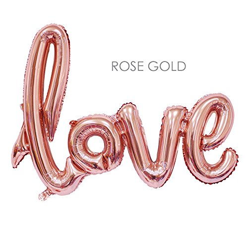 Glamorous JILL Home Dcor - XXL Giant Foil Balloon-Love Hand-writing style- Rose Gold