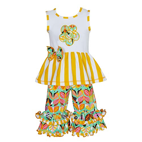 AnnLoren Big Girls 7-8 Spring Yellow Flower Tunic & Butterfly Capris Clothing