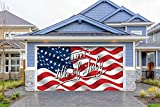 Outdoor Patriotic American Holiday Garage Door Banner Cover Mural Décoration 8'x16 - American Flag Happy 4th of July - Outdoor American Holiday Garage Door Banner Décor Sign 8'x 16'