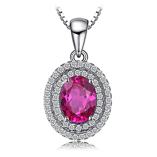 (Jewelrypalace Women's Oval Created Pink Sapphire Pendant Necklace 925 Sterling Silver 18 Inches)