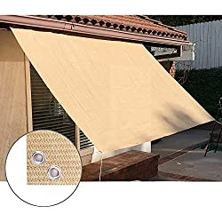 Alion Home Sun Shade Privacy Panel with Grommets on 4 Sides for Patio, Awning, Window Cover, Pergola Or Gazebo - Banha Beige (3' x 8')
